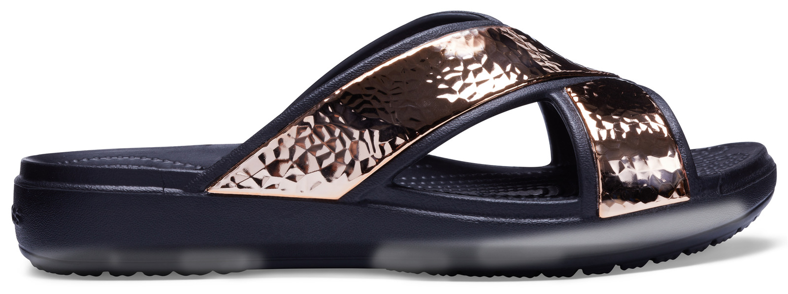 Crocs černé pantofle Sloane Hammered XSTRP Slide Black/Rose Gold