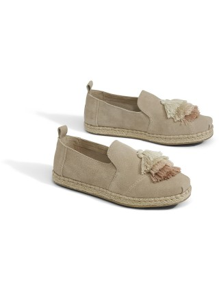 Toms béžové slip-on Deconstructed Alpargata Rope Oxford Tan Suede/Tassel - 41