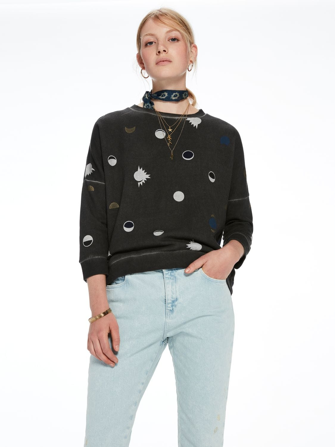 Scotch&Soda šedá mikina Dropped Shoulder Sweater - XS