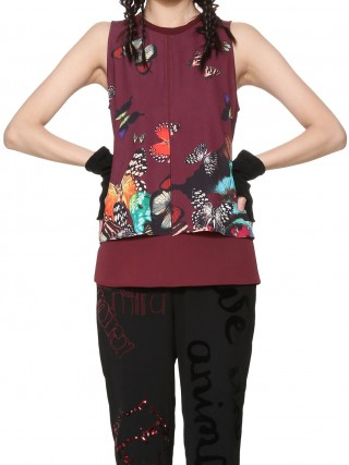 Desigual vínový top Butterfly  - XL