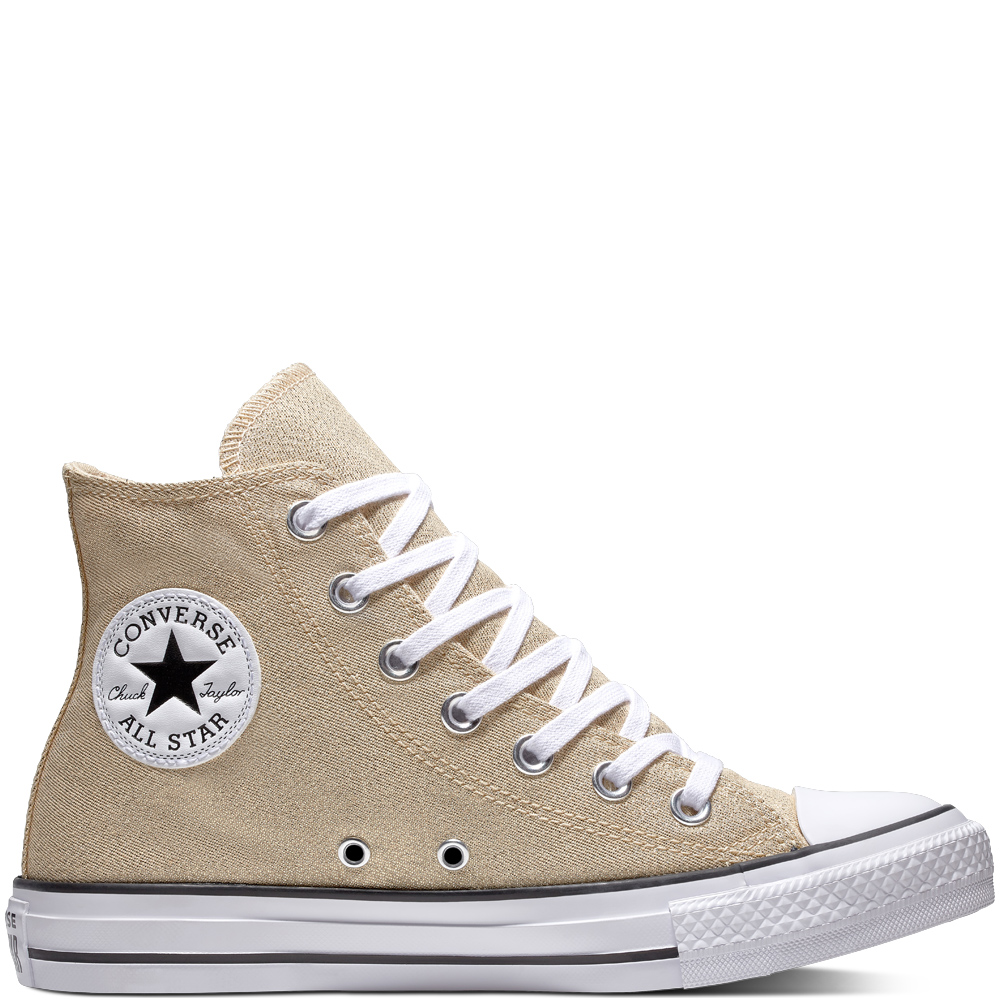 Converse zlaté tenisky Chuck Taylor All Star Hi Light Twine/White/Black