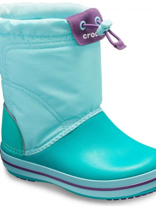 Crocs tyrkysové sněhule Crocband Lodgepoint Boot Ice Blue/Tropical Teal - j5