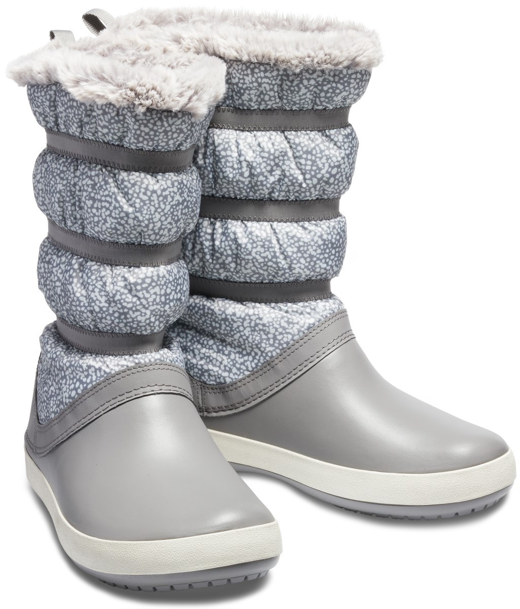 Crocs šedé sněhule Crocband Winter Boot Dots/Smoke
