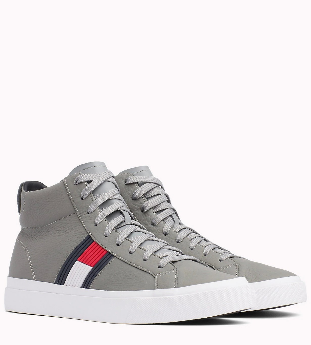 Tommy Hilfiger šedé kožené unisex tenisky Flag Detail High Leather Sneaker  Light Grey - 43 6d047483ad6