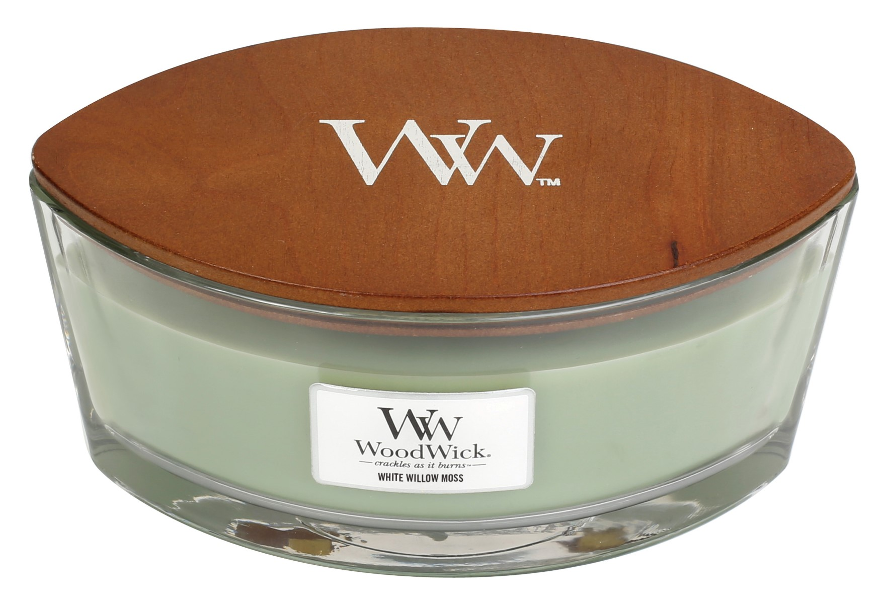 WoodWick vonná svíčka White Willow Moss loď