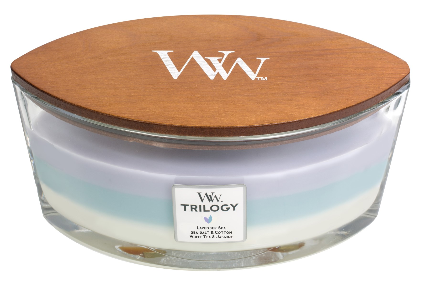 WoodWick vonná svíčka Trilogy Calming Retreat loď