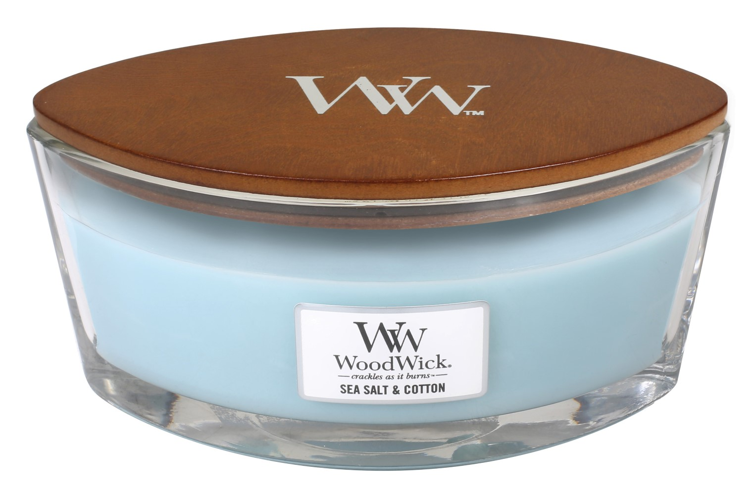 WoodWick vonná svíčka Sea Salt & Cotton loď
