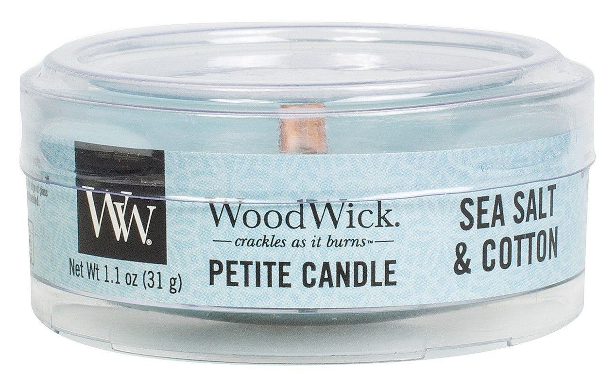 WoodWick vonná svíčka Petite Sea Salt & Cotton