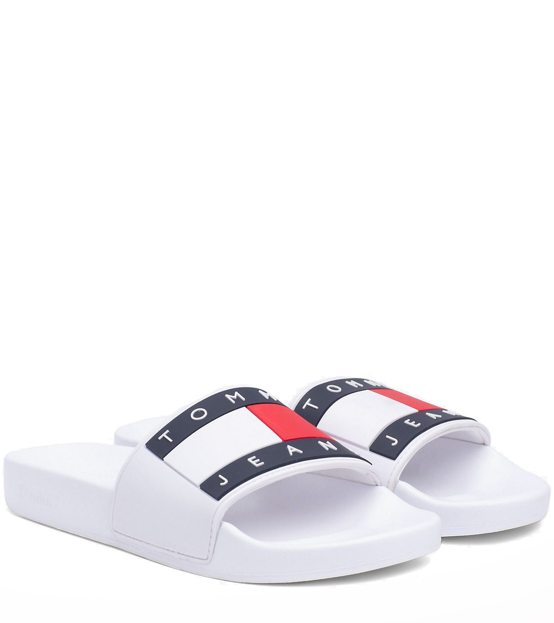 Tommy Hilfiger bílé unisex pantofle Tommy Jeans Flag Pool Slide White