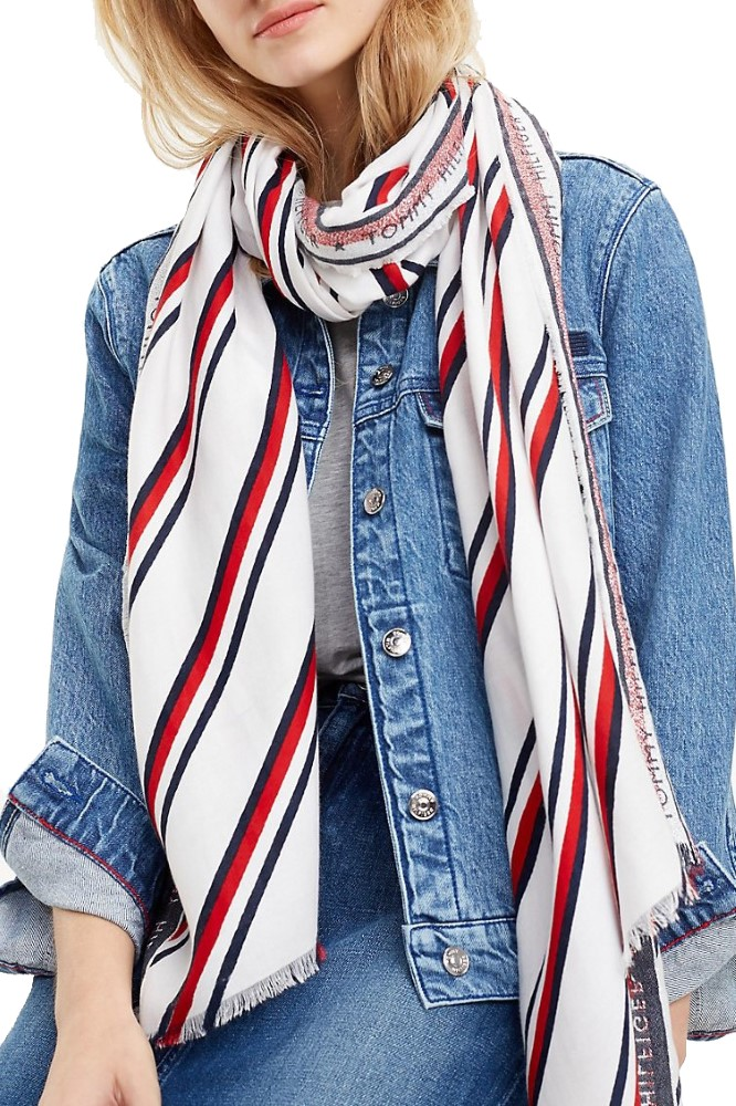 Tommy Hilfiger bílý šátek Selvedge Scarf Corporate