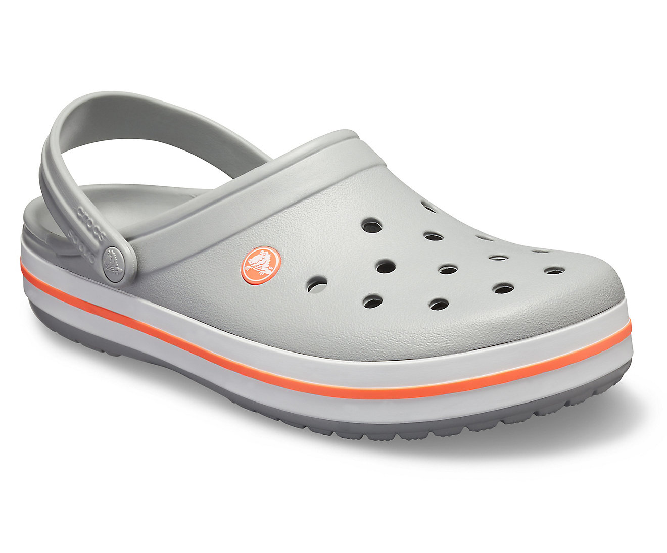 Crocs šedé unisex pantofle Crocband Light Grey/Bright Coral