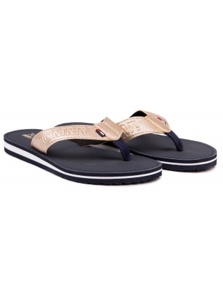 Tommy Hilfiger zlaté žabky Shiny Metallic Beach Sandal Light Gold - 40