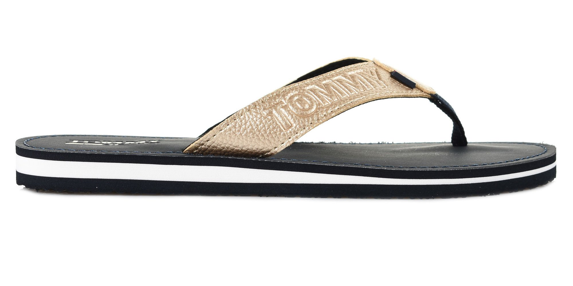 Tommy Hilfiger zlaté žabky Shiny Metallic Beach Sandal Light Gold