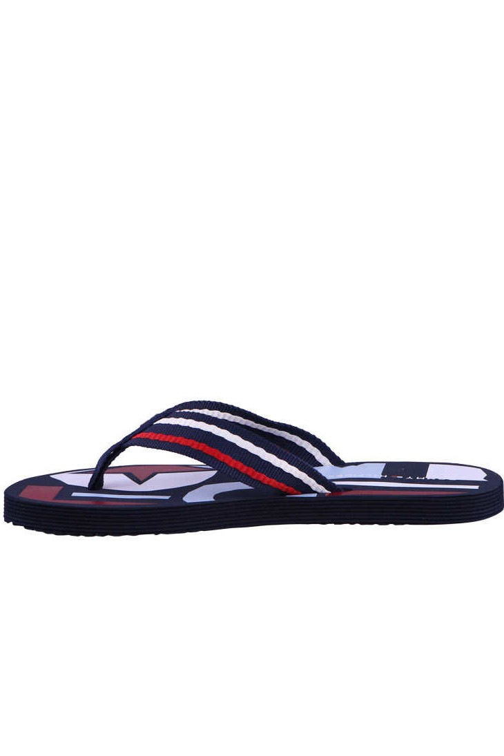 Tommy Hilfiger modré žabky Flat Beach Sandal Happy Print Midnight