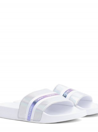 Tommy Hilfiger bílé pantofle Pool Slide Shiny Iridescent White - 42