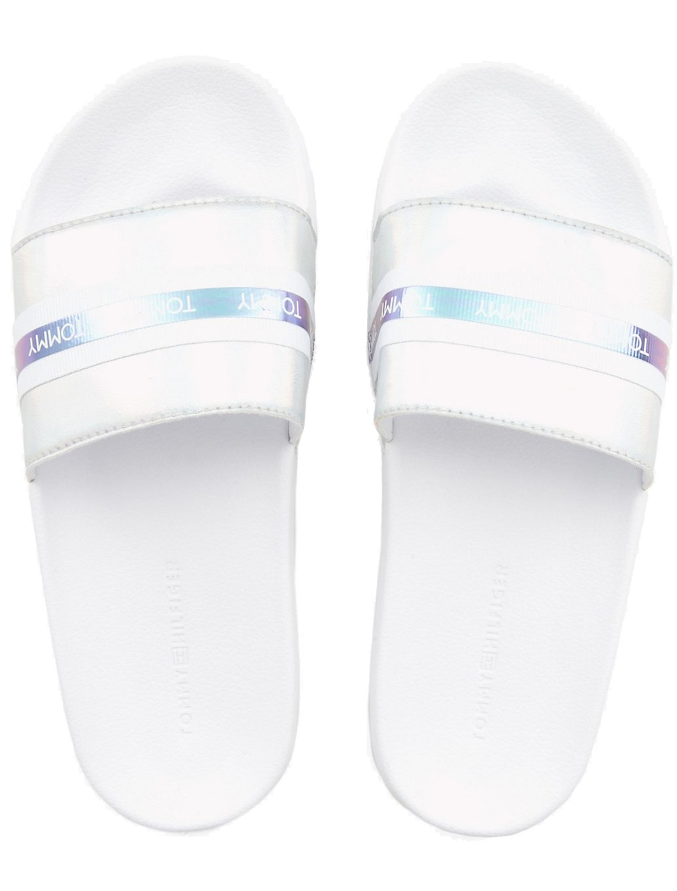 Tommy Hilfiger bílé pantofle Pool Slide Shiny Iridescent White