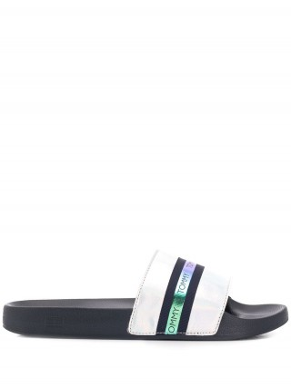 Tommy Hilfiger modré pantofle Pool Slide Shiny Iridescent Midnight - 38