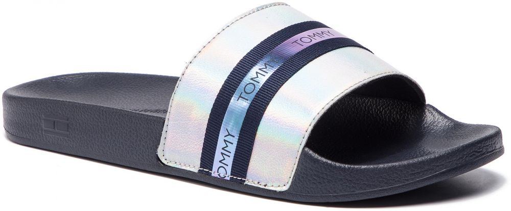 Tommy Hilfiger modré pantofle Pool Slide Shiny Iridescent Midnight