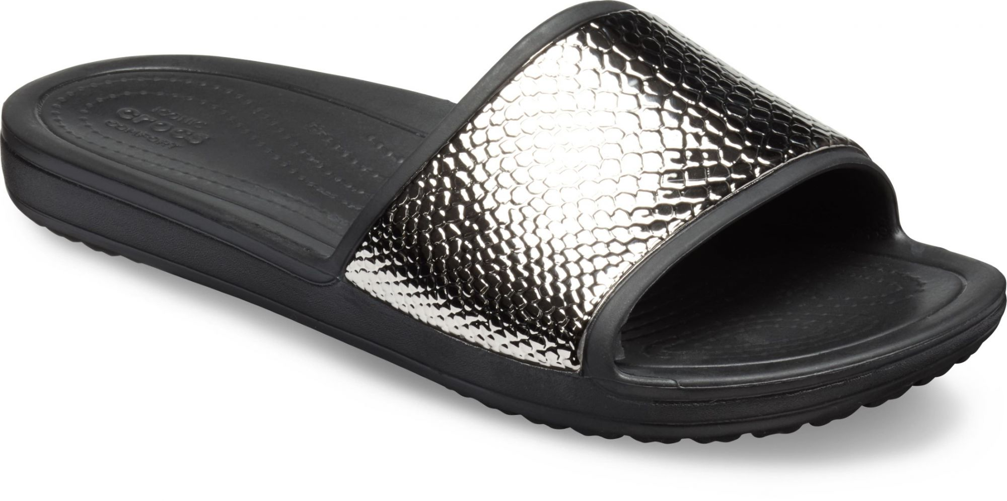 Crocs černé pantofle Sloane Metal Text Slide Gunmetal/Black