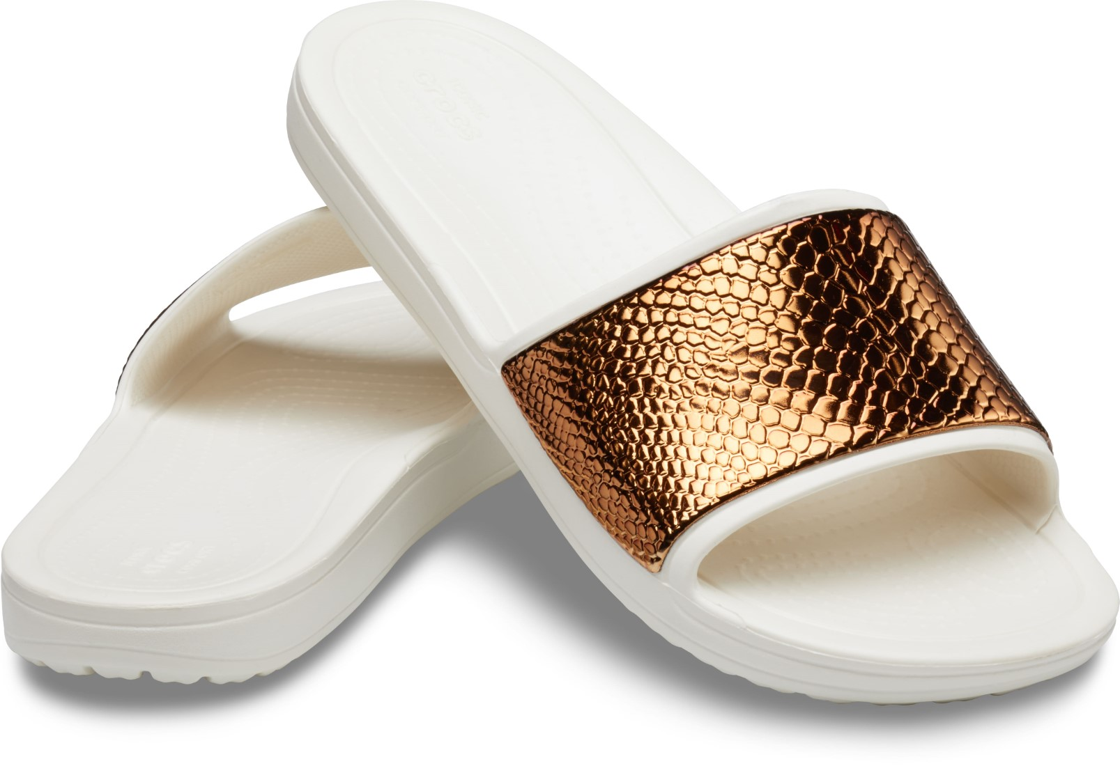 Crocs smetanové pantofle Sloane Metal Text Slide Bronze/Oyster