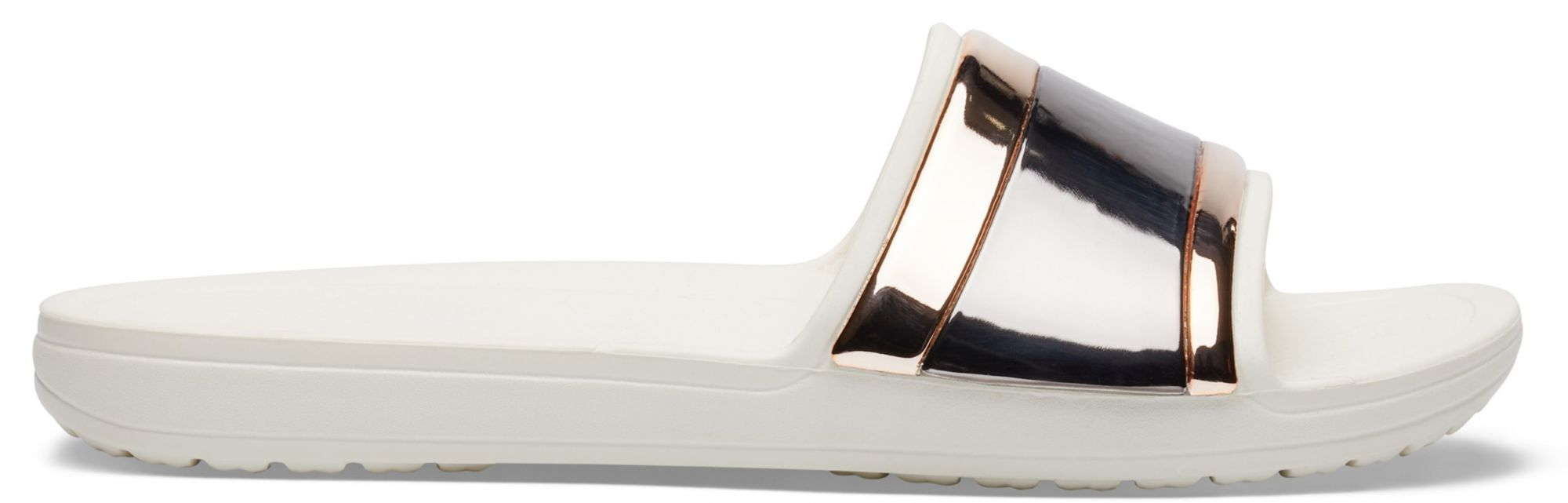 Crocs smetanové pantofle Sloane Metal Block Slide Multi Rose Gold/Oyster