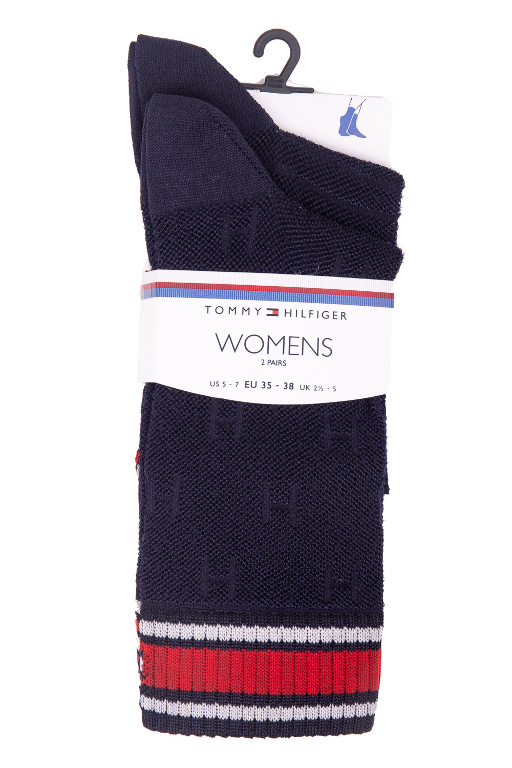 Tommy Hilfiger tmavě modrý 2 pack ponožek TH All Over Socks Midnight Blue