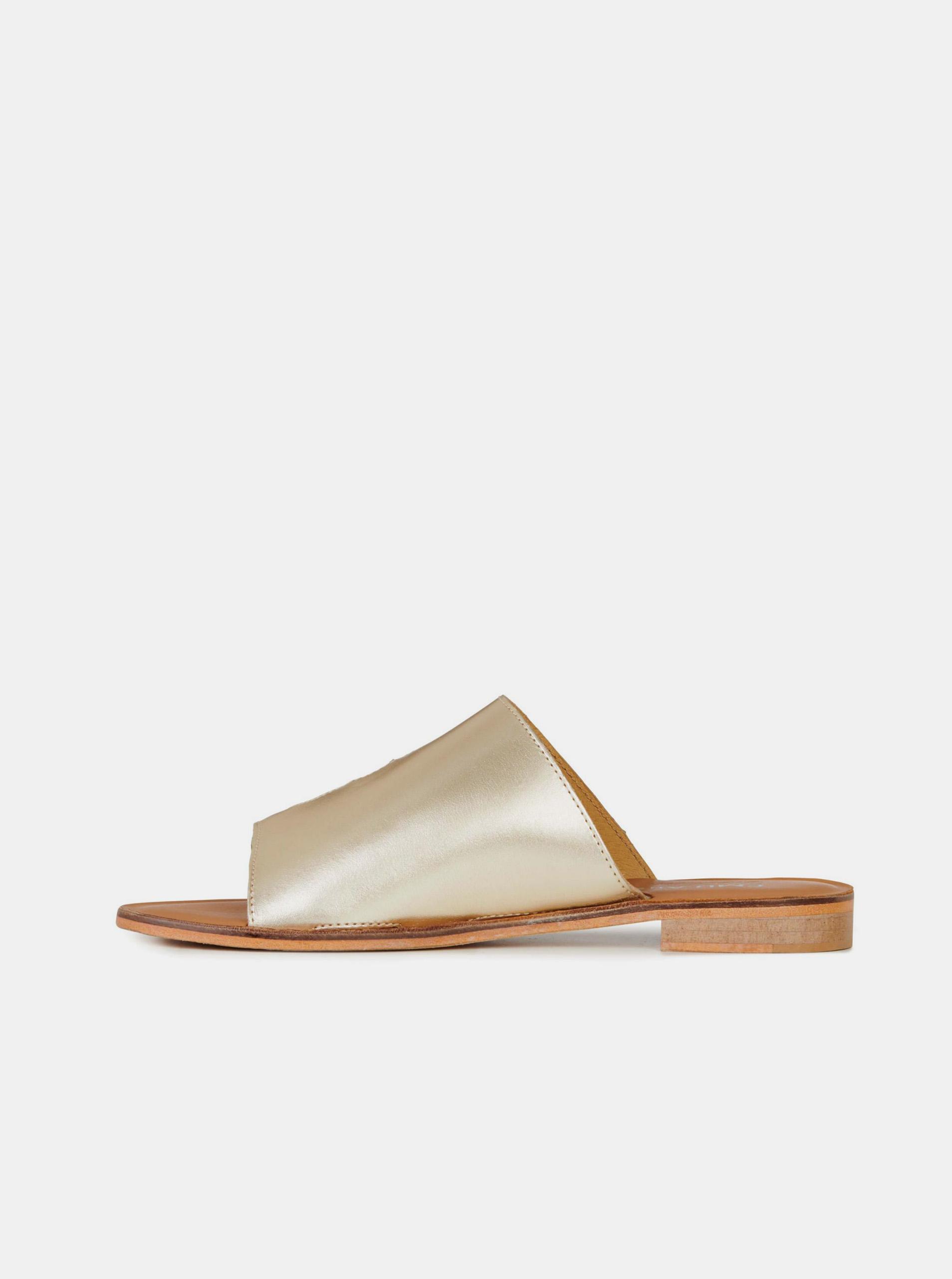 Emu Australia zlaté kožené pantofle Dion Gold