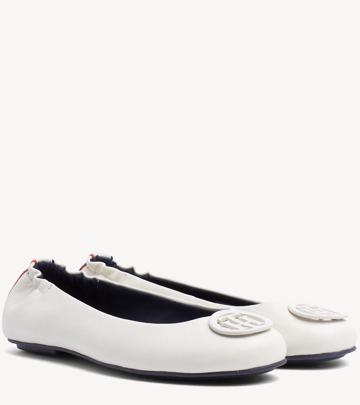 Tommy Hilfiger smetanové kožené baleríny Flexible Leather Ballerina Whisper White