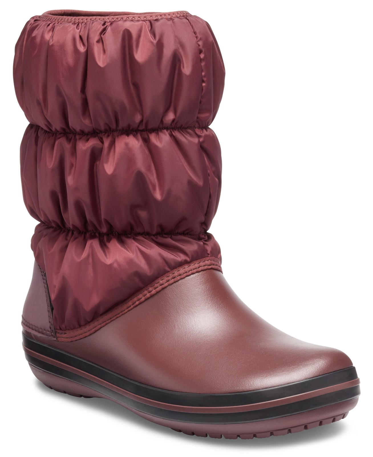 Crocs vínové sněhule Winter Puff Boot Burgundy/Black