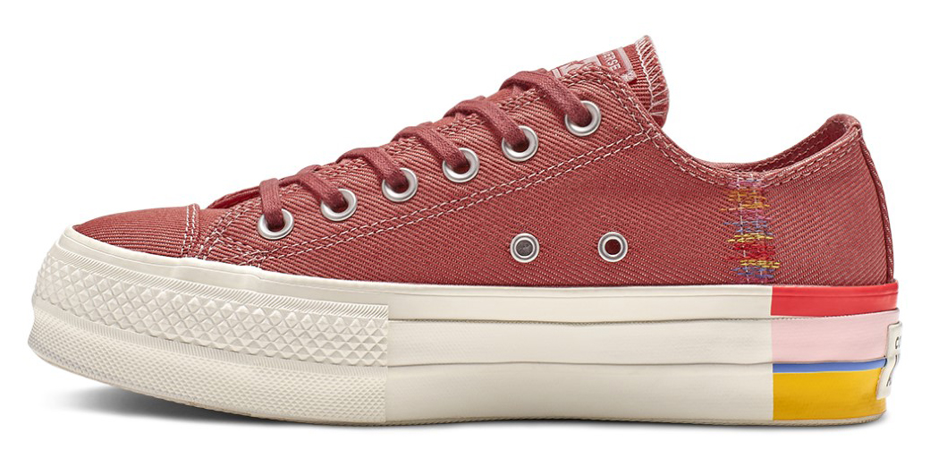 Converse vínové denimové tenisky na platformě Chuck Taylor All Star Lift Ox Coastal Pink/Light Redwood