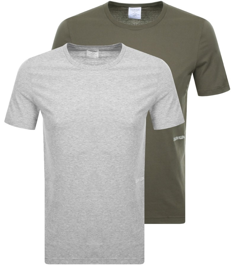 Calvin Klein 2 pack dámských triček S/S Crew Neck grey heather/ army dust