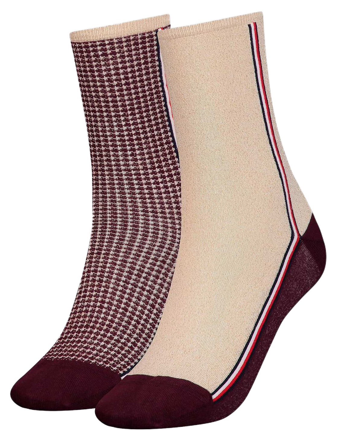 Tommy Hilfiger 2 pack ponožek TH Women Sock 2P Houndstooth Lurex