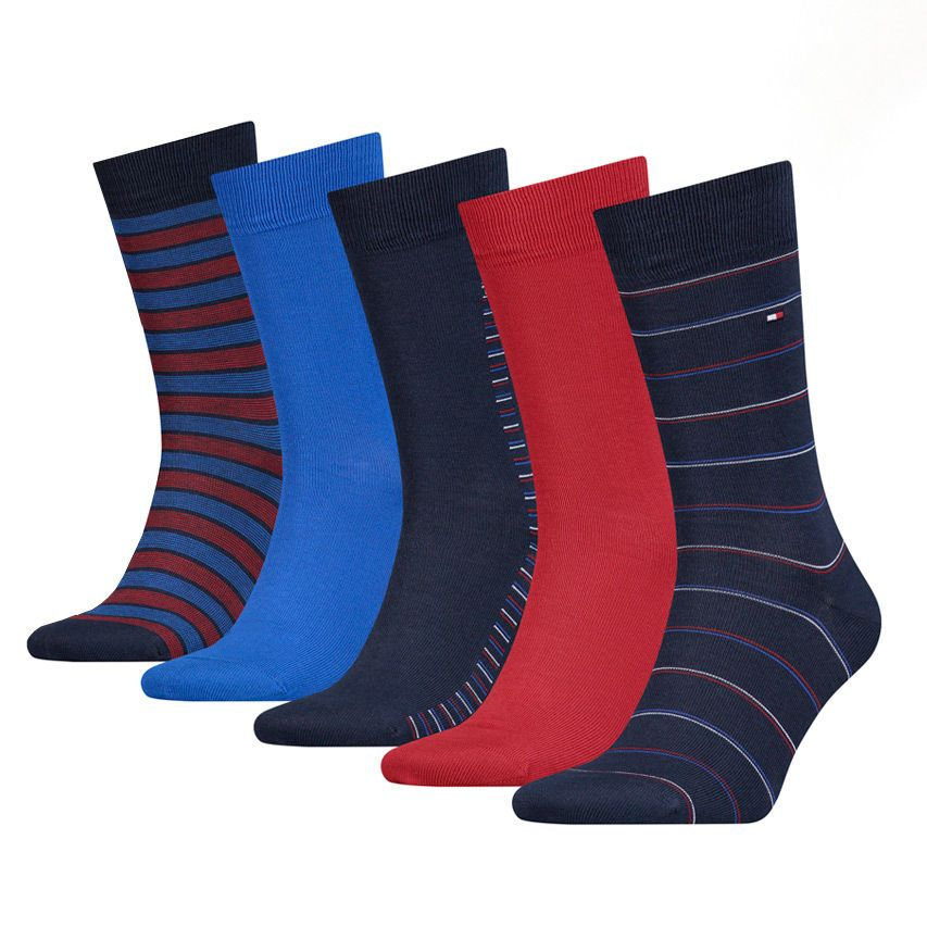 Tommy Hilfiger 5 pack pánských ponožek TH Men Sharp Stripes Giftbox 5P