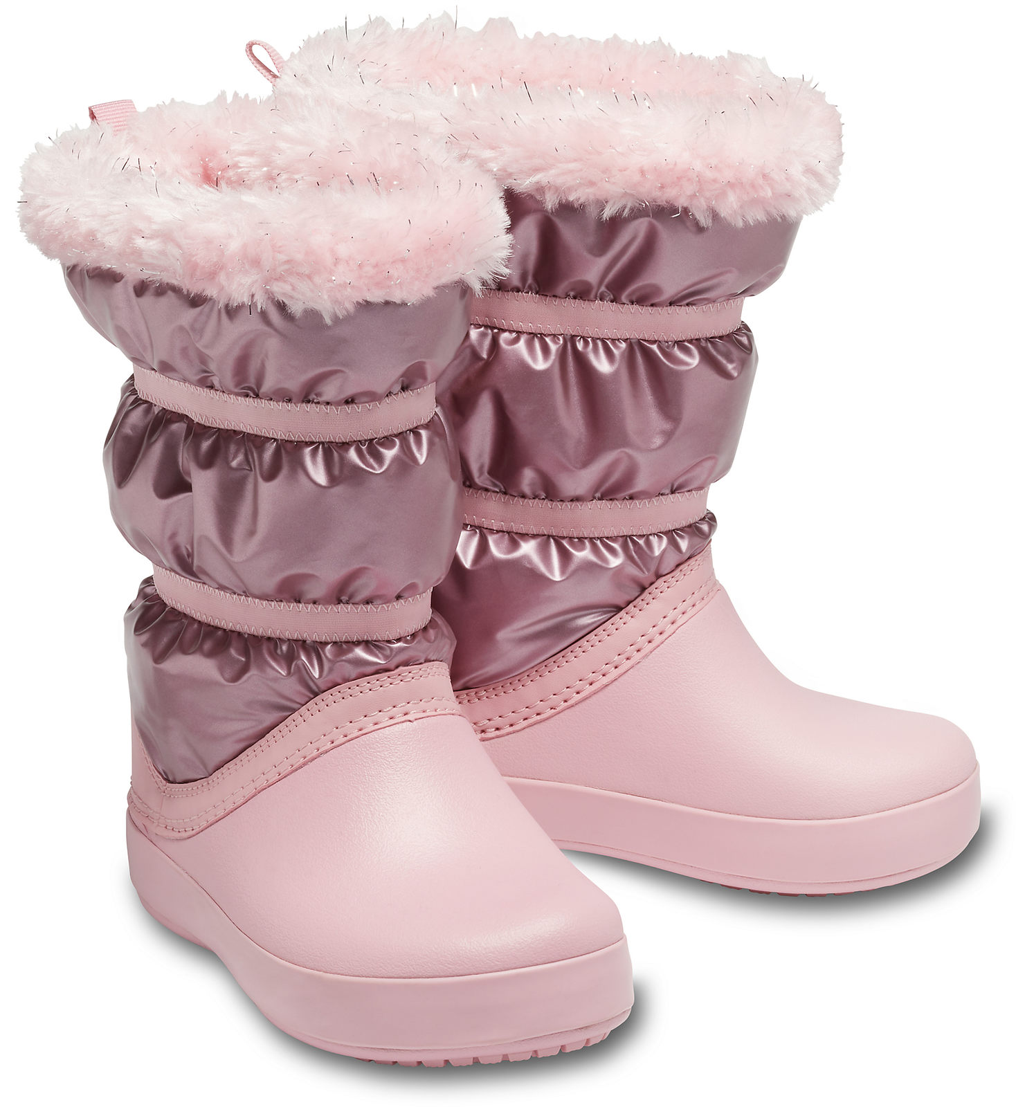 Crocs pudrové dívčí sněhule CB LodgePoint Metallic Boot G Rose Gold Metallic
