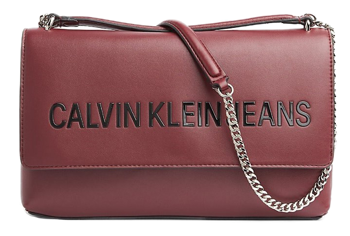 Calvin Klein bordová kabelka Sculpted LG EW Flap Beet Red