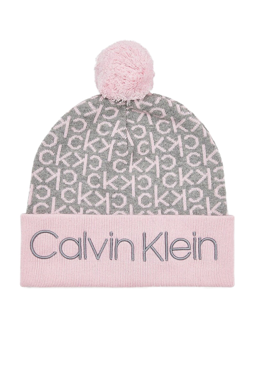 Calvin Klein pudrová čepice Industrial Mono Knitted Beanie W Ta Clear Pink s bambulí