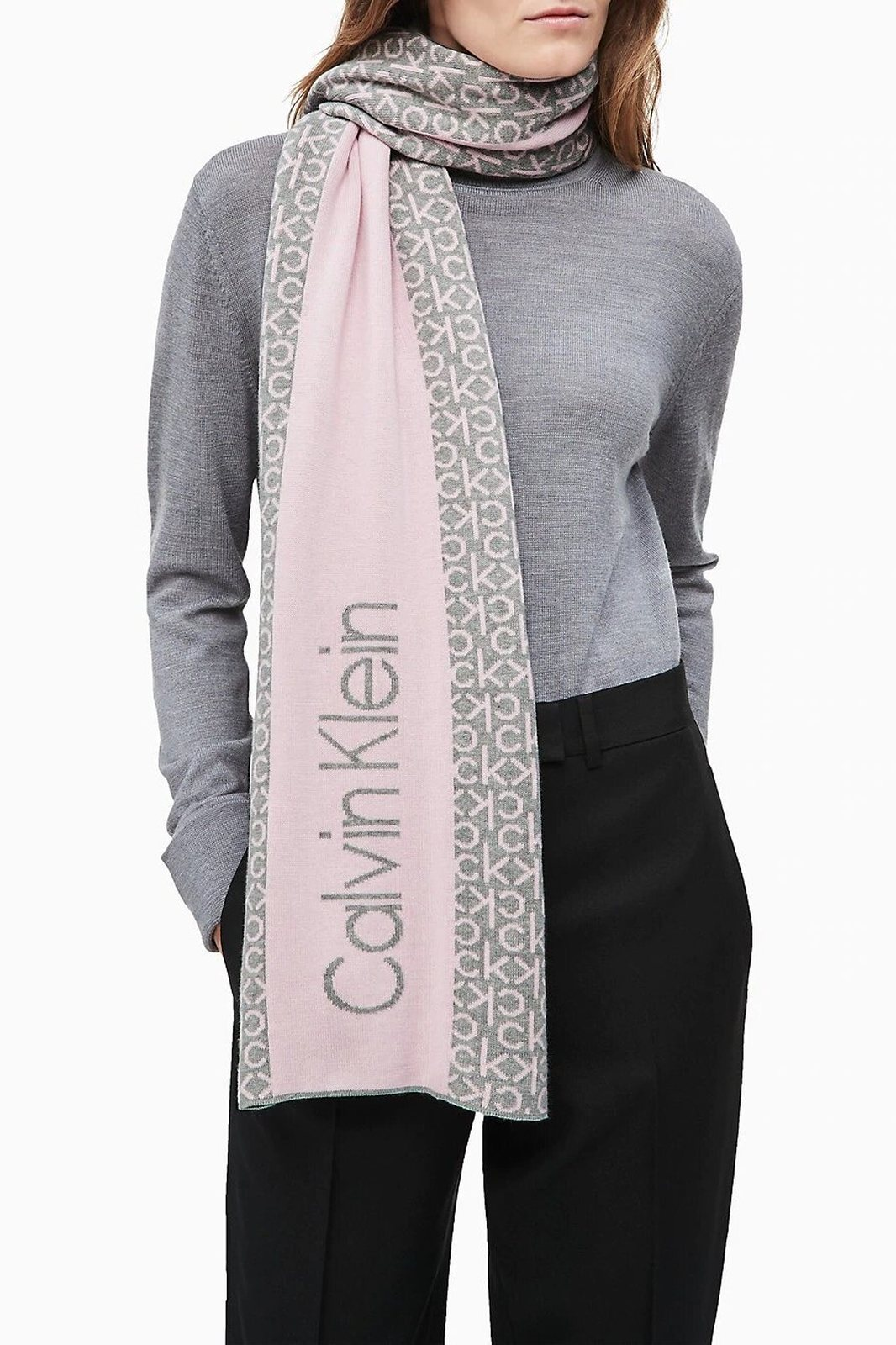 Calvin Klein pudrová šála Industrial Mono Knitted Scarf W Clear Pink