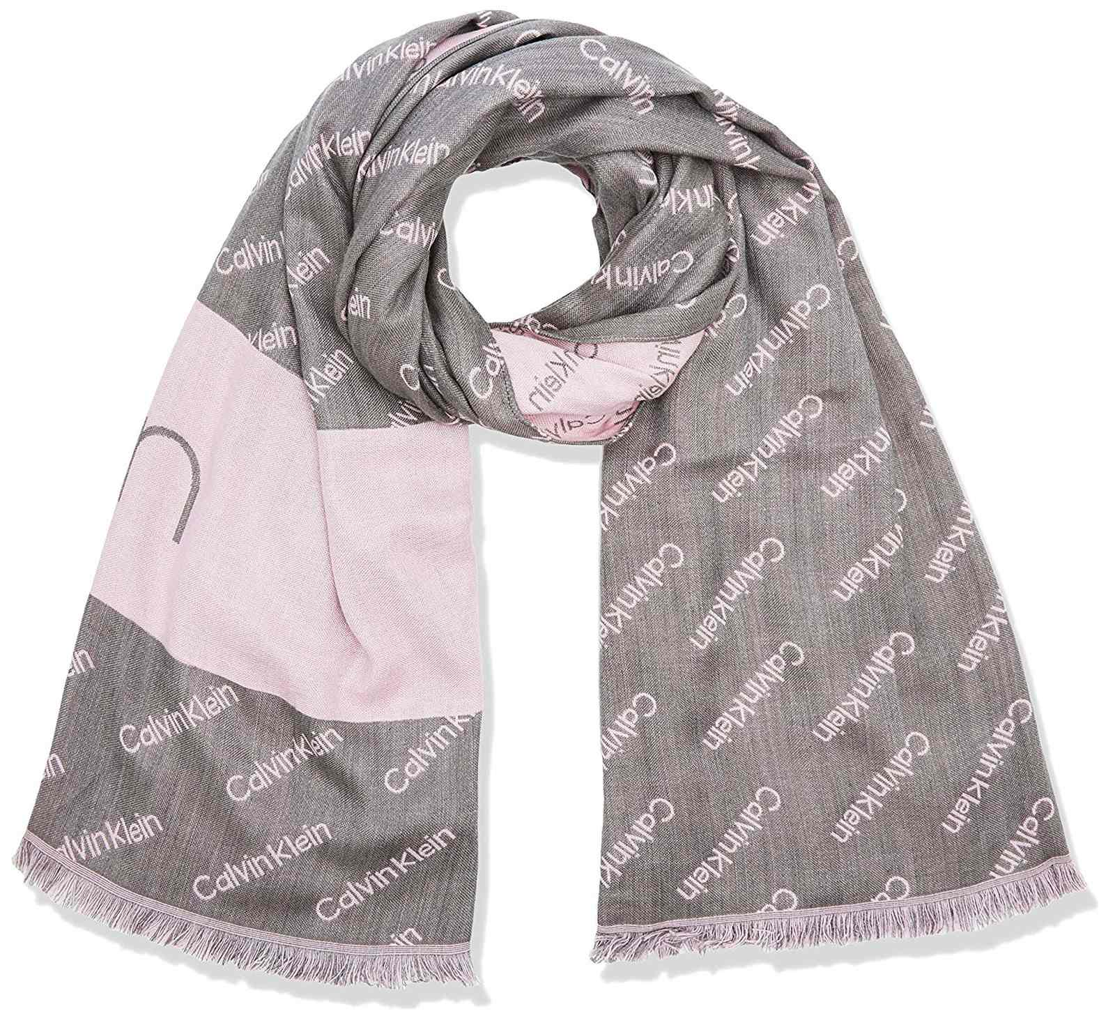 Calvin Klein šedá šála Logo Jaquard Scarf Light Grey Heather