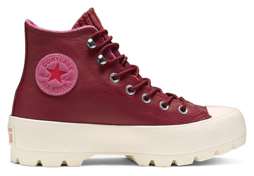 Converse vínové kožené tenisky Chuck Taylor All Star Lugged Winter Back Alley Brick/Habanero Red