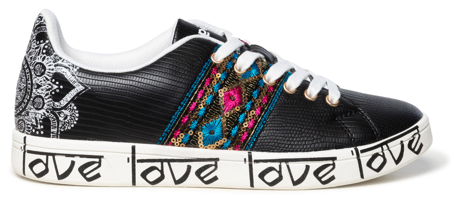 Desigual černé tenisky Shoes Cosmic Exotic Indian
