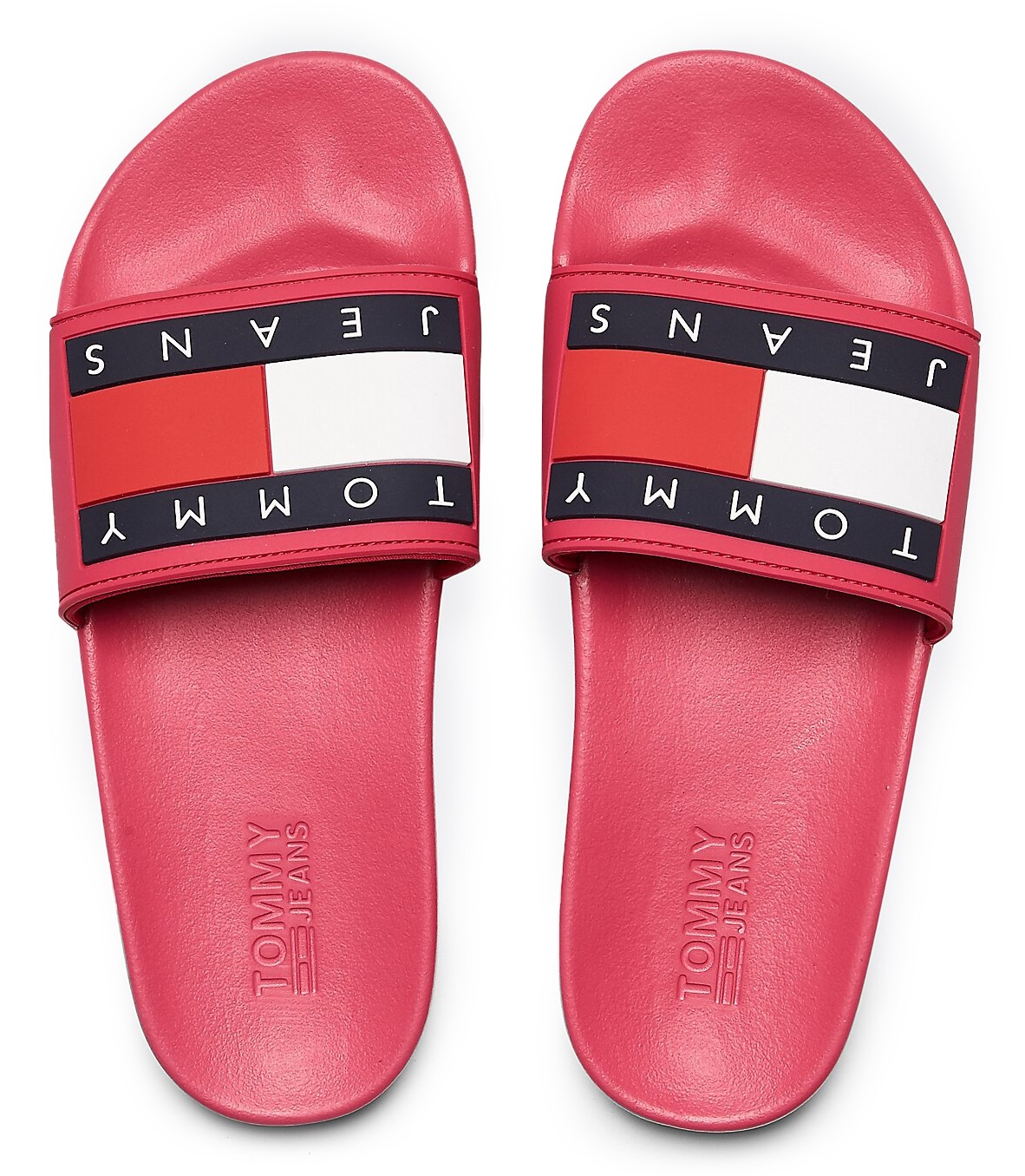 Tommy Hilfiger malinové pantofle Tommy Jeans Flag Pool Slide Blush Red