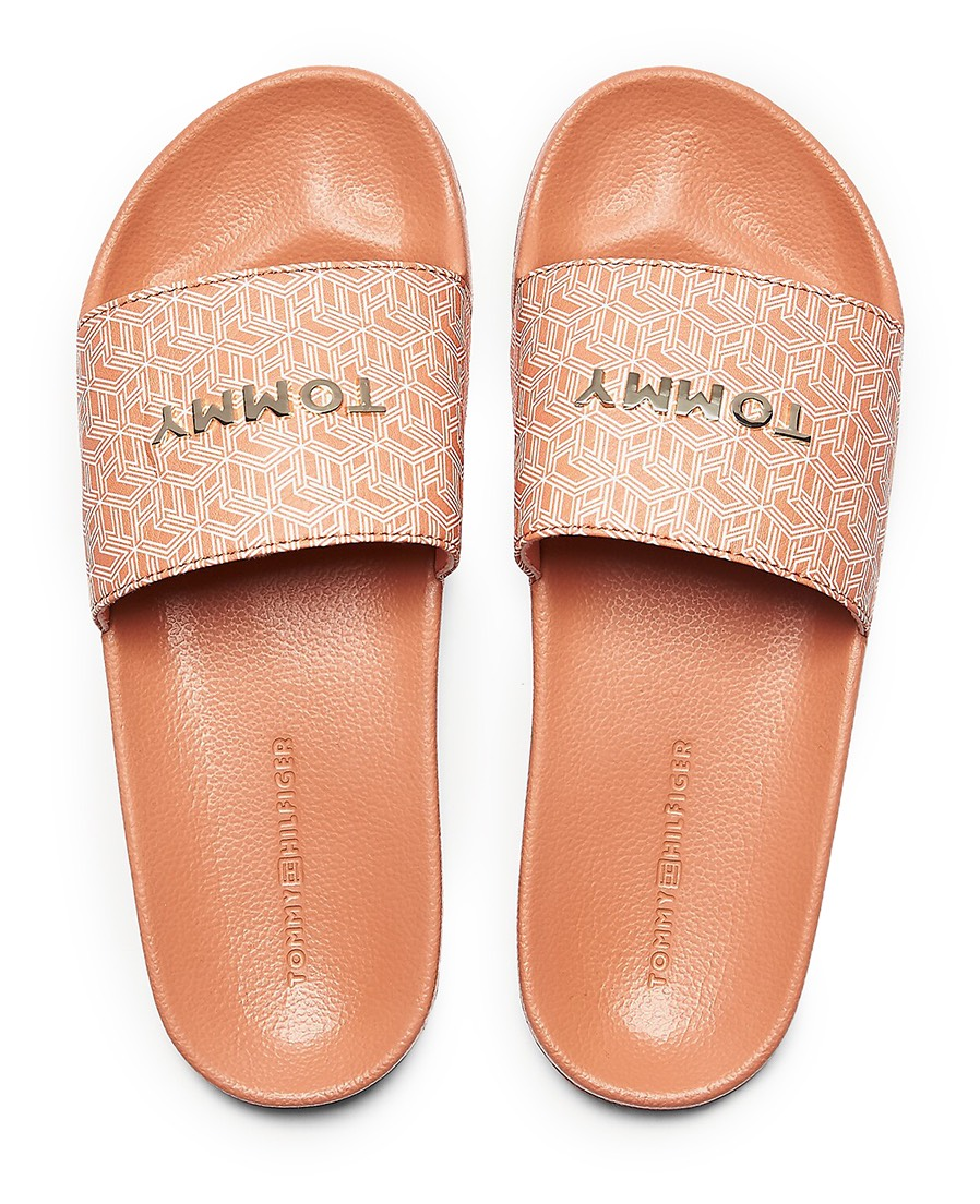 Tommy Hilfiger pudrové pantofle TH Mono Allover Pool Slide