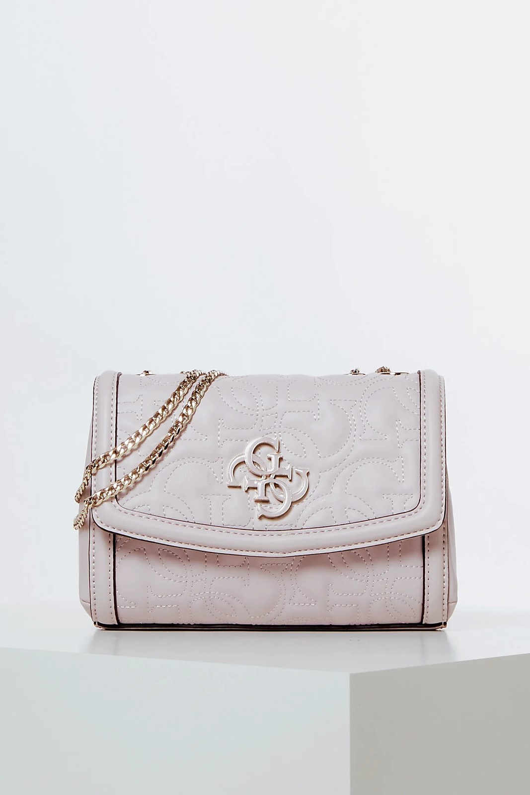 Guess pudrová crossbody kabelka New Wave Quilted