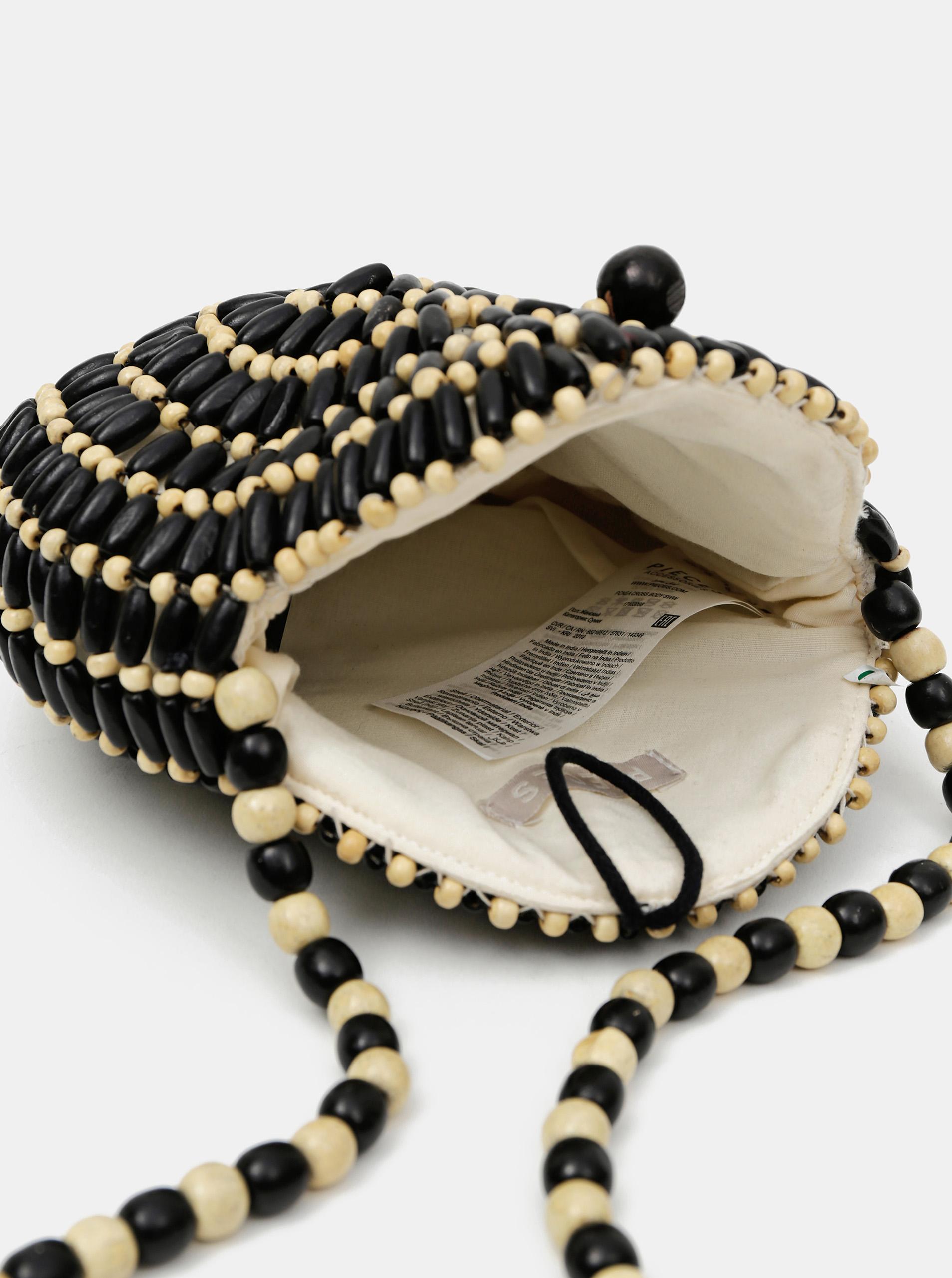 Černo-béžová dřevěná crossbody kabelka Pieces Nea