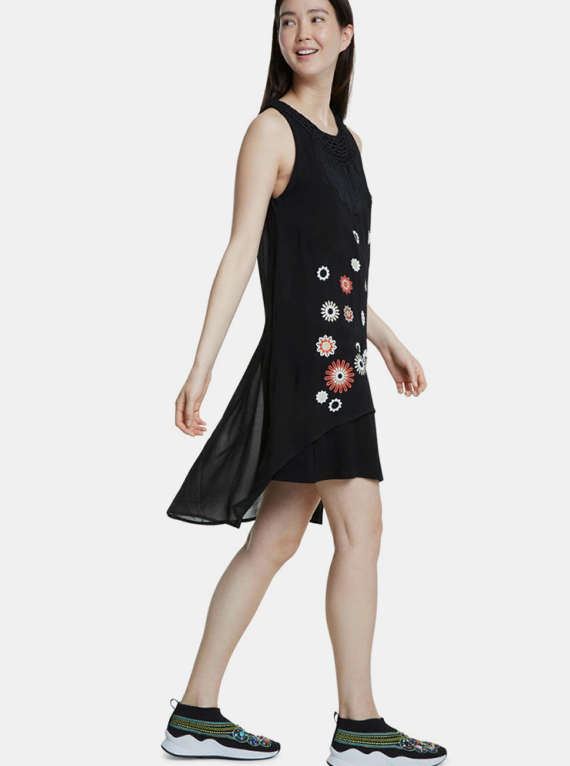 Desigual černé šaty s třásněmi Barrie
