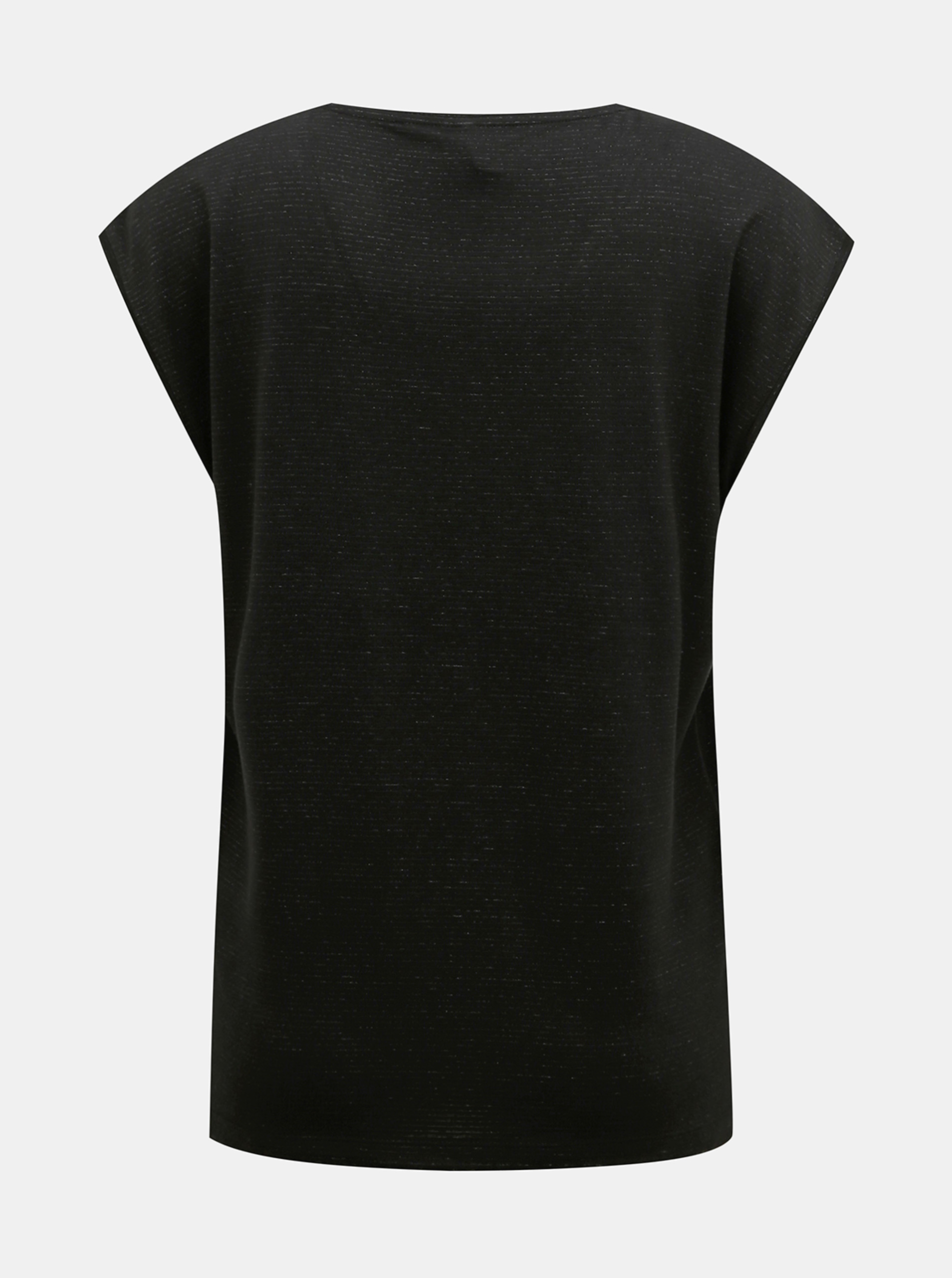 Černé tričko s metalickými vlákny Pieces