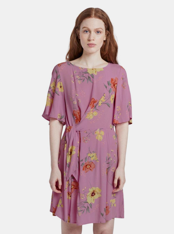 Růžové dámské květované šaty Tom Tailor Denim - XS