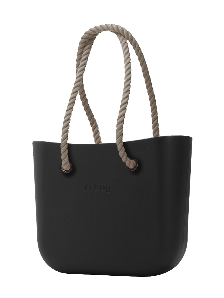 O Bag kabelka černá s provazem natural