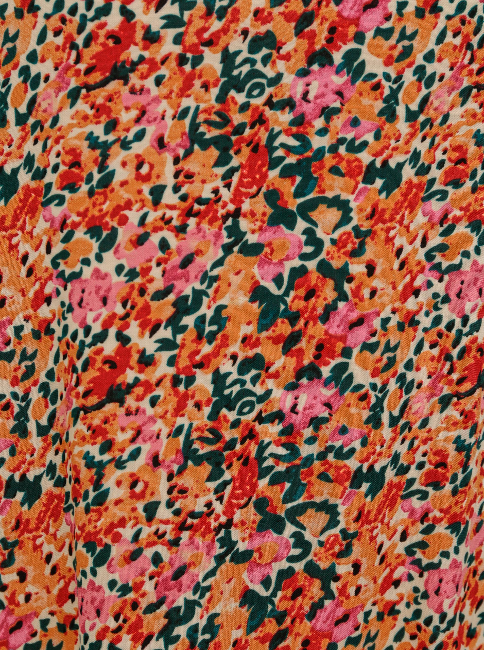 Růžovo-oranžová květovaná volná halenka ONLY Nova
