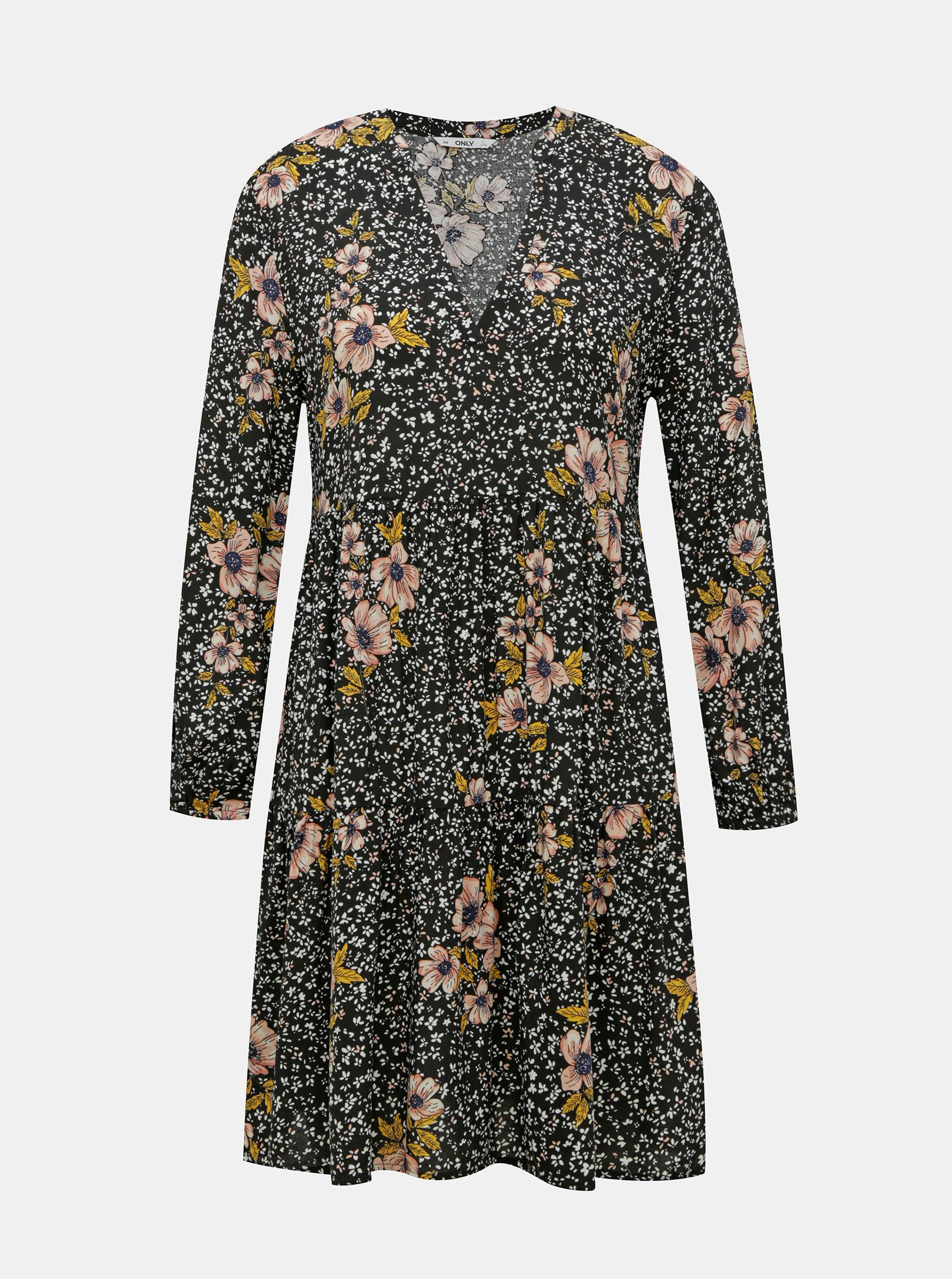 Černé květované šaty ONLY Thea